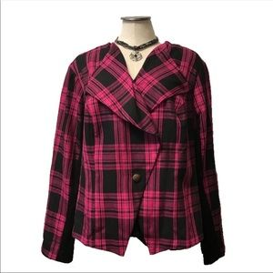 🌺➕ Torrid Pink Black Plaid Jacket 1 1X Plus